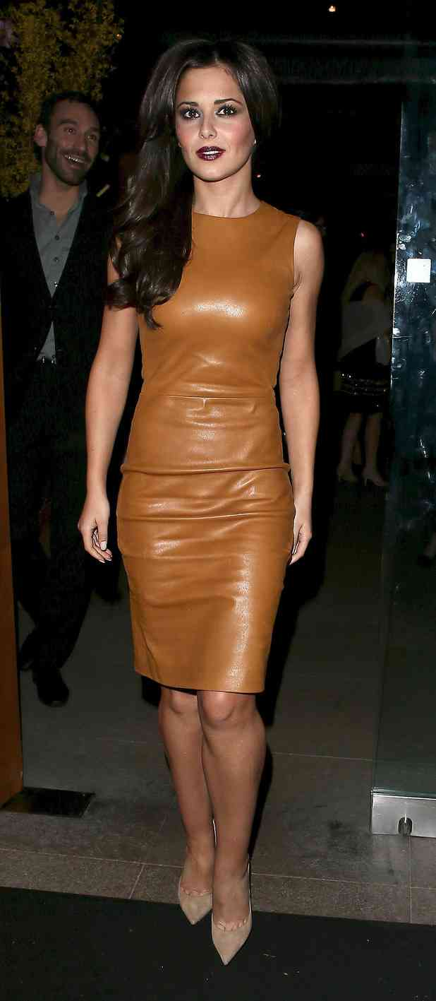 Cheryl Cole leather dress