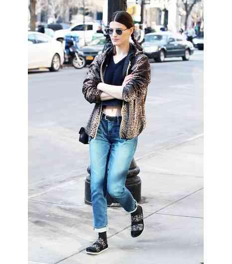 jacheta imprimata cu jeans boyfriend