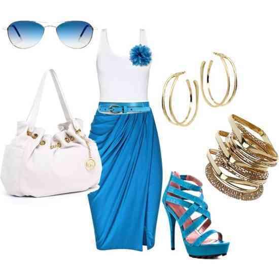 outfit alb si albastru