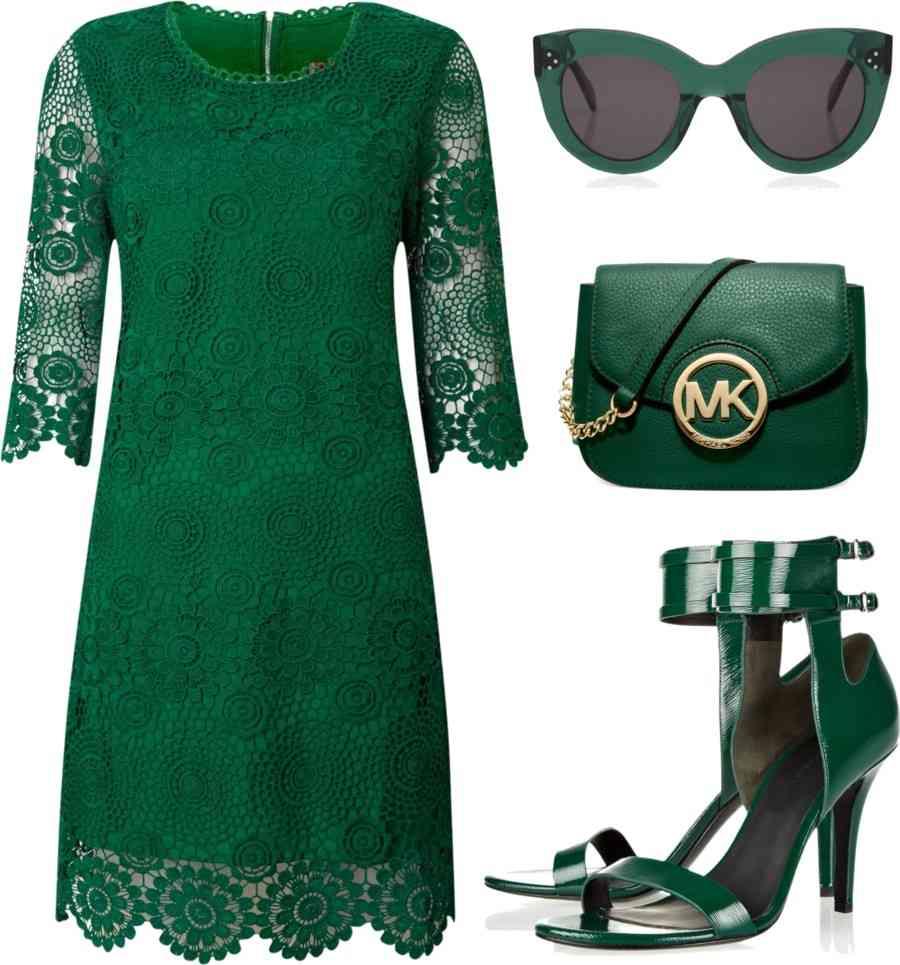 rochie verde dantela