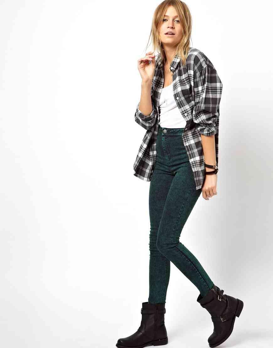 jeans cu talie inalta